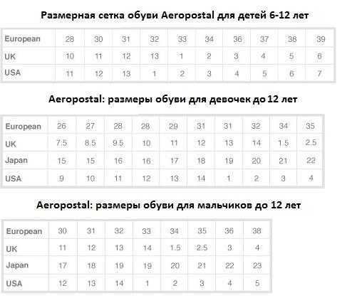 Aeropostal размеры детской обуви