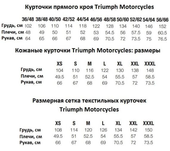 triumph motorcycles размерная сетка