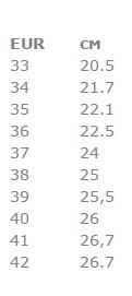 las espadrillas таблица размеров