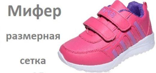 Обувь Мифер размерная сетка